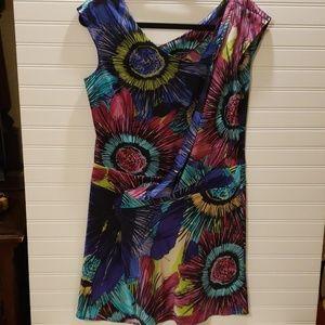 Ali Ro Silk and Spandex Colorful Dress